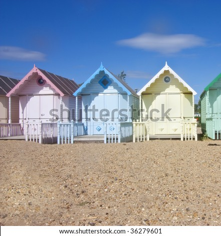 close up on mersea wooden beach huts