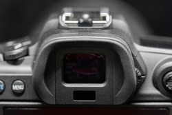 Close-up on Mirrorless Camera Electronic View Finder