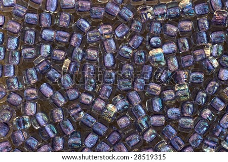 Close-up on purple glass beads
