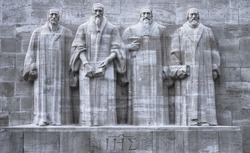 Close up on reformers wall in Geneva, Switzerland, HDR