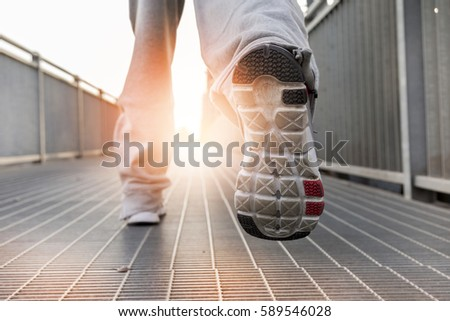 close up on running shoes. Healthy lifestyle and sport concept