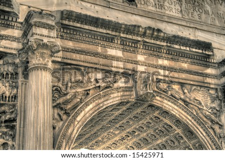 Close-up on the Arch of Titus. Pseudo HDR image created from a single RAW file.