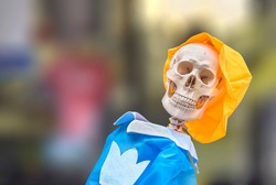 Close up on the bust of a smiling flexible human anatomical skeleton for medical anatomy teaching wearing a yellow hat and blue clothes against a blurry bokeh background.