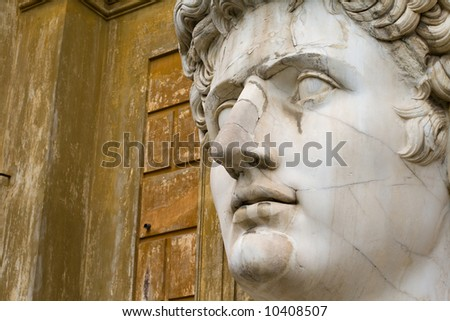 Close-up on the head of a very large statue of Roman emperor Augustus