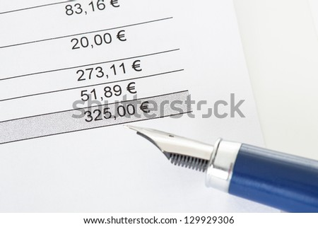 Close-up on total amount due in invoice