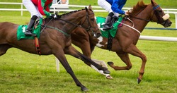 Close up on two race horses and jockeys competing for position on the track
