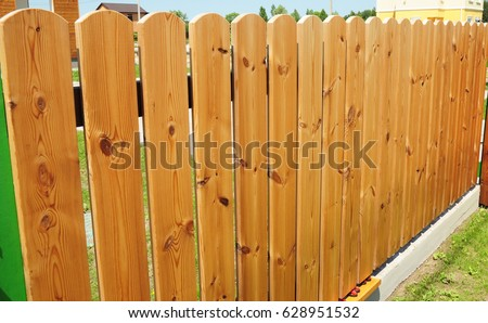 Close up on Wooden Fence Door.Wood Fence - Wood Fencing with Copy Space.