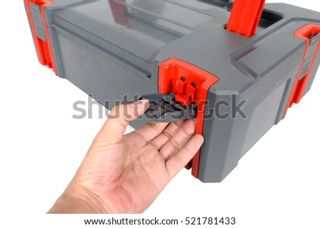 Close up, Open Plastic tool box on white background. #521781433