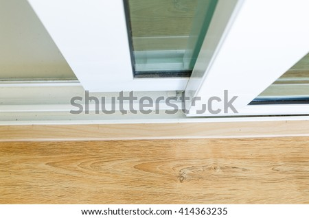 close-up open sliding door with glass  in the house #414363235