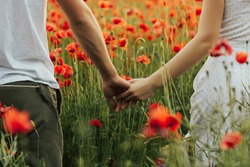 Close up outdoor portrait of couple holding hands in the red poppy field. Love - romantic couple holding hands. . Young woman and man in love walking hand in hand on field.
