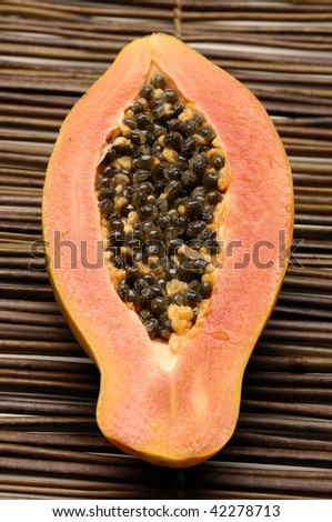 Close up papaya fruit sliced