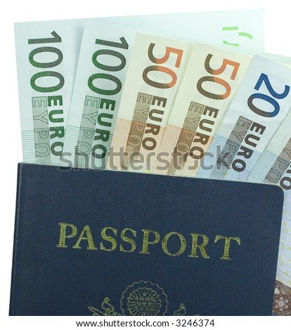 Close-up passport with 20, 50, and 100 Euro banknotes isolated on a white background