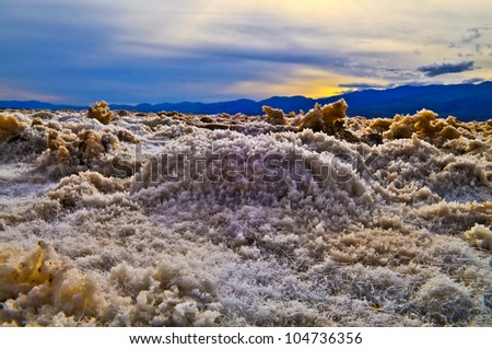 Close-up pattern of amazing crystals formations in Devil's Golf Course Death Valley