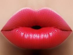 Close-up perfect red lip makeup beautiful female mouth. Plump sexy full lips. Macro photo face detail. Perfect clean skin, fresh lip make-up. Beautiful juicy lips