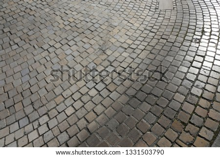 Close up perspective view of a sidewalk made of cobblestones. Pattern of grey brown blocks. Abstract picture surface with curving lines.  #1331503790