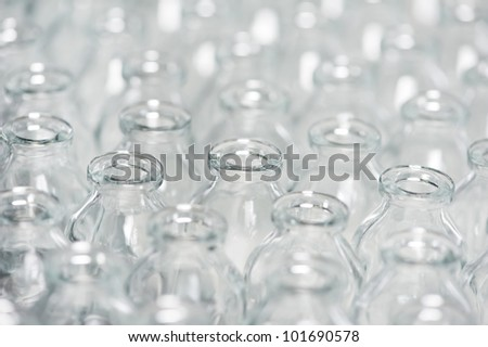 close-up pharmacy contaner glassware background for pharmaceutical medicine powder drugs