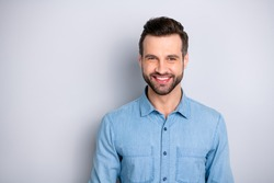Close up photo amazing attractive he him his guy gladly toothy smiling self-confidently look camera easy-going wearing casual jeans denim shirt outfit clothes isolated grey background