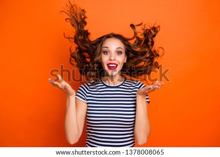 Close up photo amazing beautiful she her lady red pomade hand arm palm raised hair curls flight toothy celebrate party wear casual striped white blue t-shirt clothes isolated orange bright background #1378008065