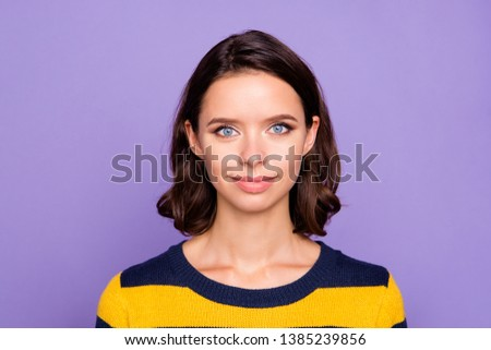 Close up photo beautiful amazing she her lady ideal plump lips sincere kind self-confident easy-going listening great good news wear blue yellow striped pullover isolated violet purple background