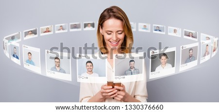 Close up photo digital bachelor she her lady smartphone online sit repost like pick choose choice illustration pictures guys dating site futuristic creative design isolated grey background