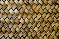 Close up photo image on bamboo strips wall, wood texture, weave pattern as background, seamless overlay template for art work