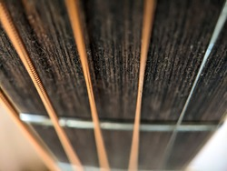 Close-up photo of acoustic guitar steel strings