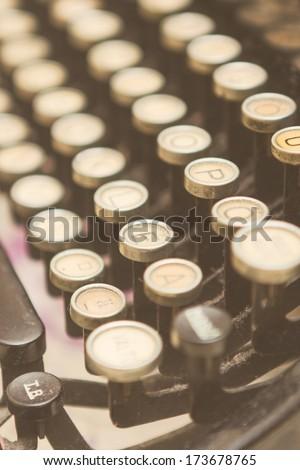 Close up photo of antique typewriter keys