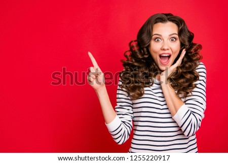 Close up photo of attractive pretty beautiful she her lady finger up to empty space wondered if to buy buyer shirt ask advise wearing white striped pullover isolated on red vivid background