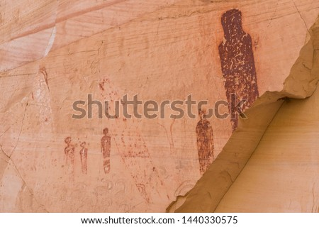 Close-up photo of Barrier Canyon style pictographs within the Horseshoe Canyon Unit of Canyonlands National Park. They date from the Late Archaic period (4,000-1,500 years ago) of nomadic peoples.