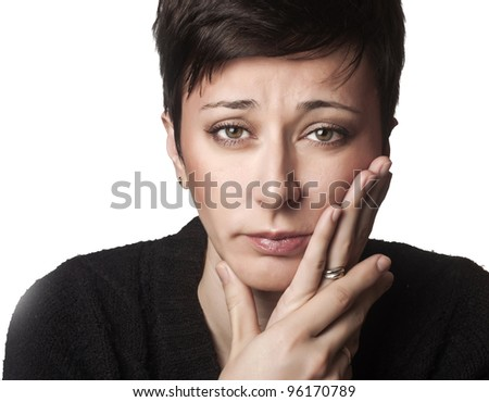 close up photo of beautiful woman having toothache