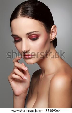 close up photo of beautiful woman's face with makeup