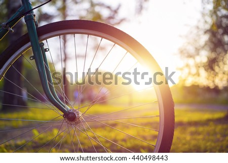 Close up photo of bicycle wheel with blurred background.
