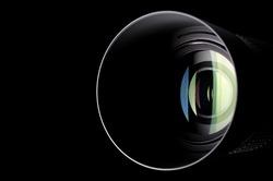 Close-up photo of camera zoom lens