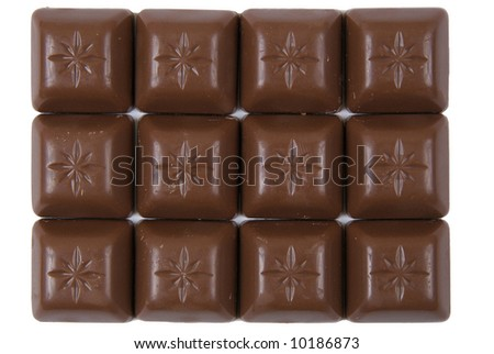 Close up photo of chocolate. White background - stock photo