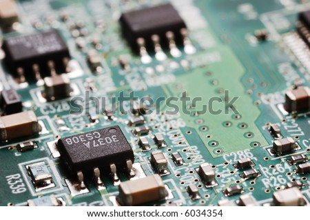 Close-up photo of computer circuit board;