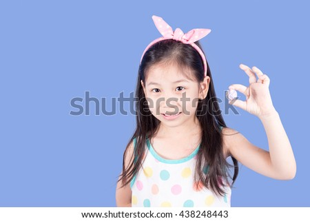 close up photo of cute little asian girl #438248443