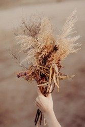 Close up photo of female hand holding beautiful autumn bouquet of dried flowers. Selected focus