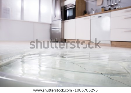 Photo of  Close-up Photo Of Flooded Floor In Kitchen From Water Leak