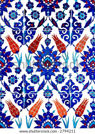 Close up photo of handmade Turkish tiles, in Rustempasa Mosque, Istanbul, Turkey
