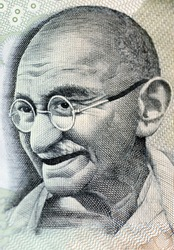 Close up photo  of Mahatma Gandhi father of Indian nation