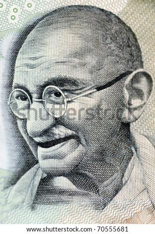 Close up photo  of Mahatma Gandhi father of Indian nation