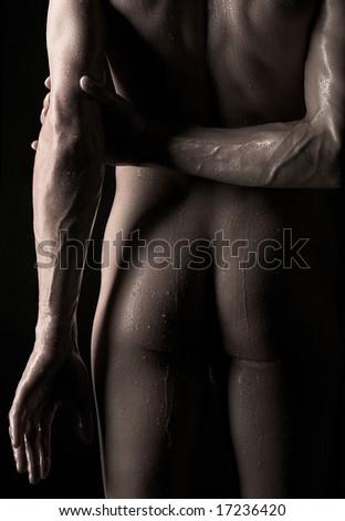 Close-up photo of male buttocks - stock photo