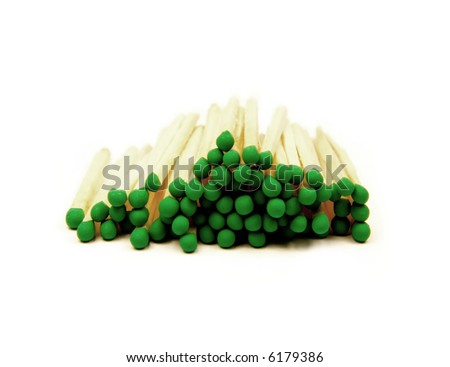 Close up photo of matches isolated on white.