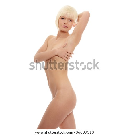 Close up photo of nude body of young fit female, isolated on white