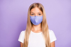 Close up photo of pretty positive cheerful child look have covid-19 quarantine her family friends wear white breathing mask t-shirt clothes isolated over violet color background