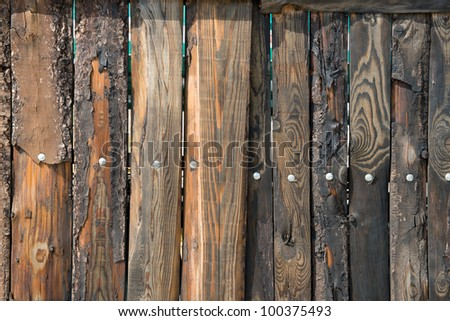 Close up photo of retro weathered wooden fence