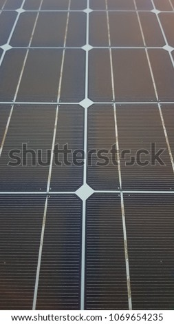 Close up photo of Solar cell grid and panel mount in the sea at Offshore remote platform with high detail of grids on the surface #1069654235