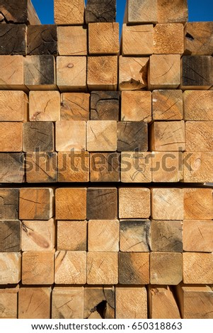 Close up photo of stack wood beams in the factory #650318863