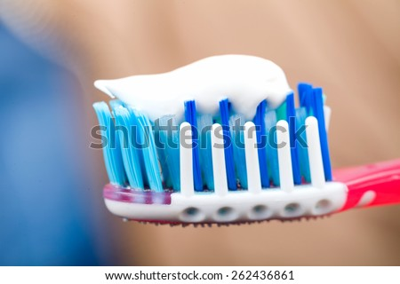 Close up photo of toothbrush with toothpaste