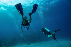 Close up photo of two divers swimming close to each other at foreground and three more far away in murky dark blue water. Light surface, air bubbles from underwater breathing. Tropical Scuba Divers